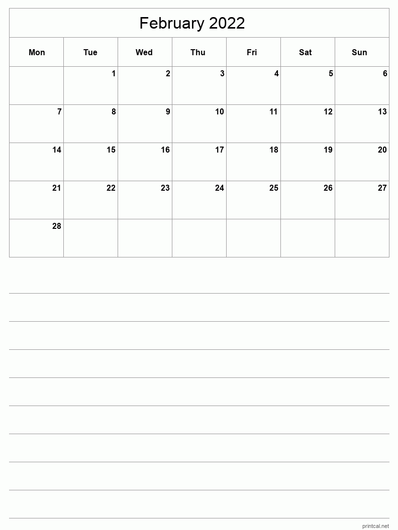 February 2022 Printable Calendar - Half-Page With Notesheet