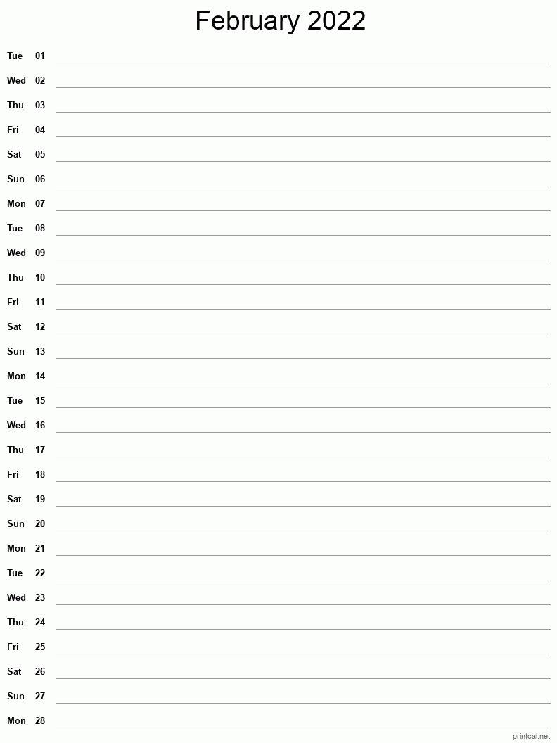 February 2022 Printable Calendar - Single Column Notesheet