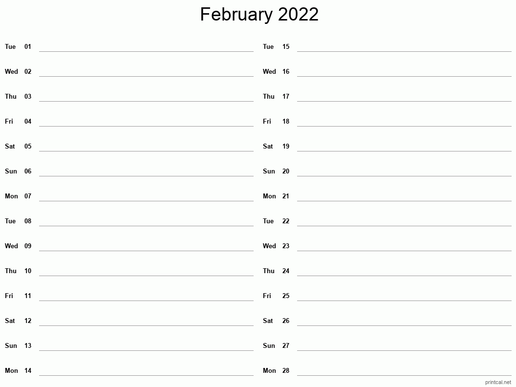February 2022 Printable Calendar - Two Column Notesheet