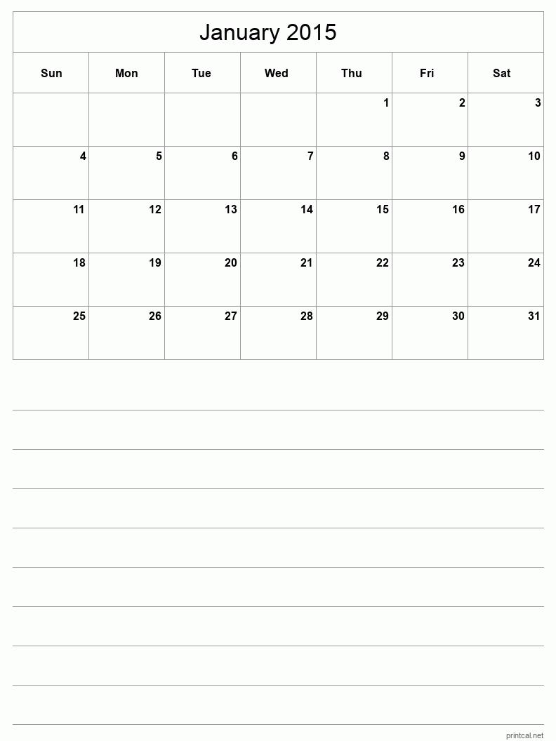 Blank Calendar Half Page : Printable january calendar template half page