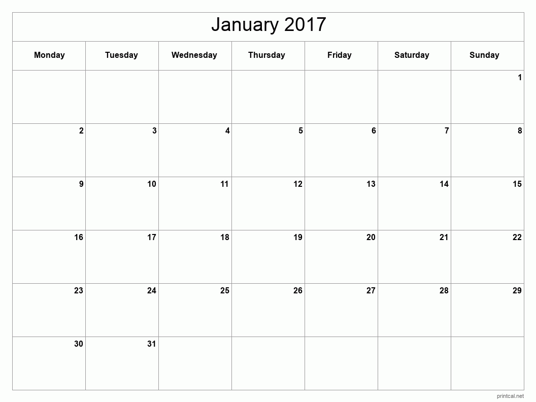 Printable January 2017 Blank Calendar - full-page, blank grid