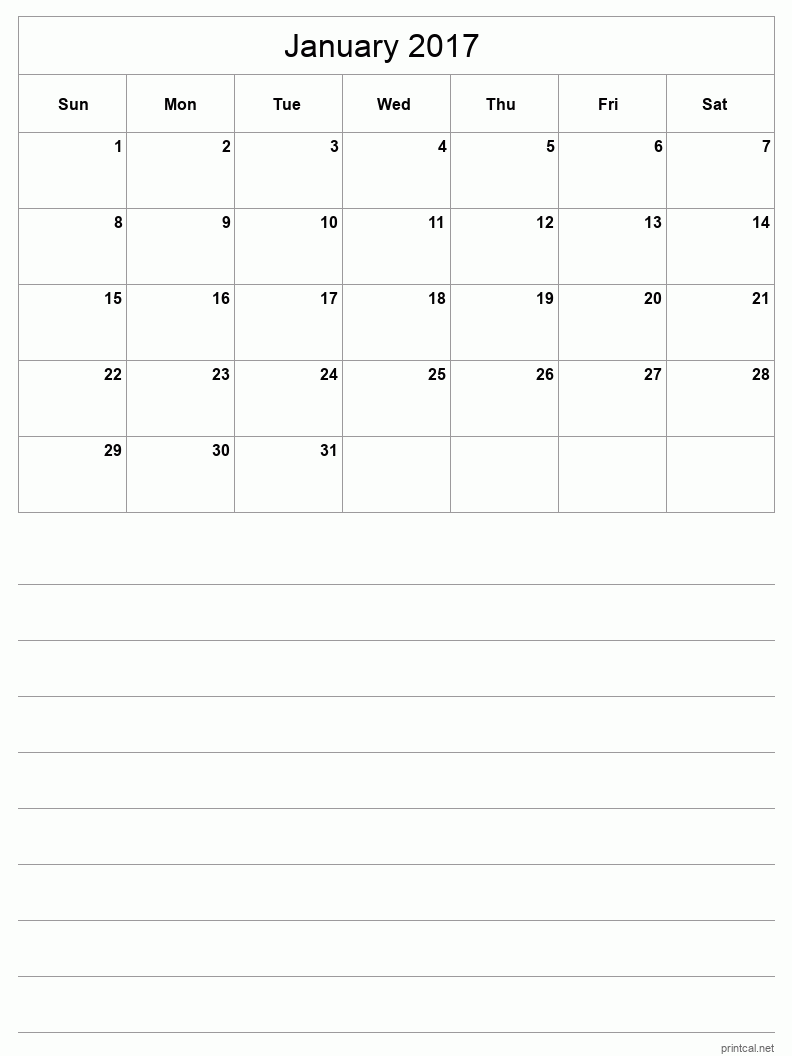 Printable January 2017 Blank Calendar - half-page with notes