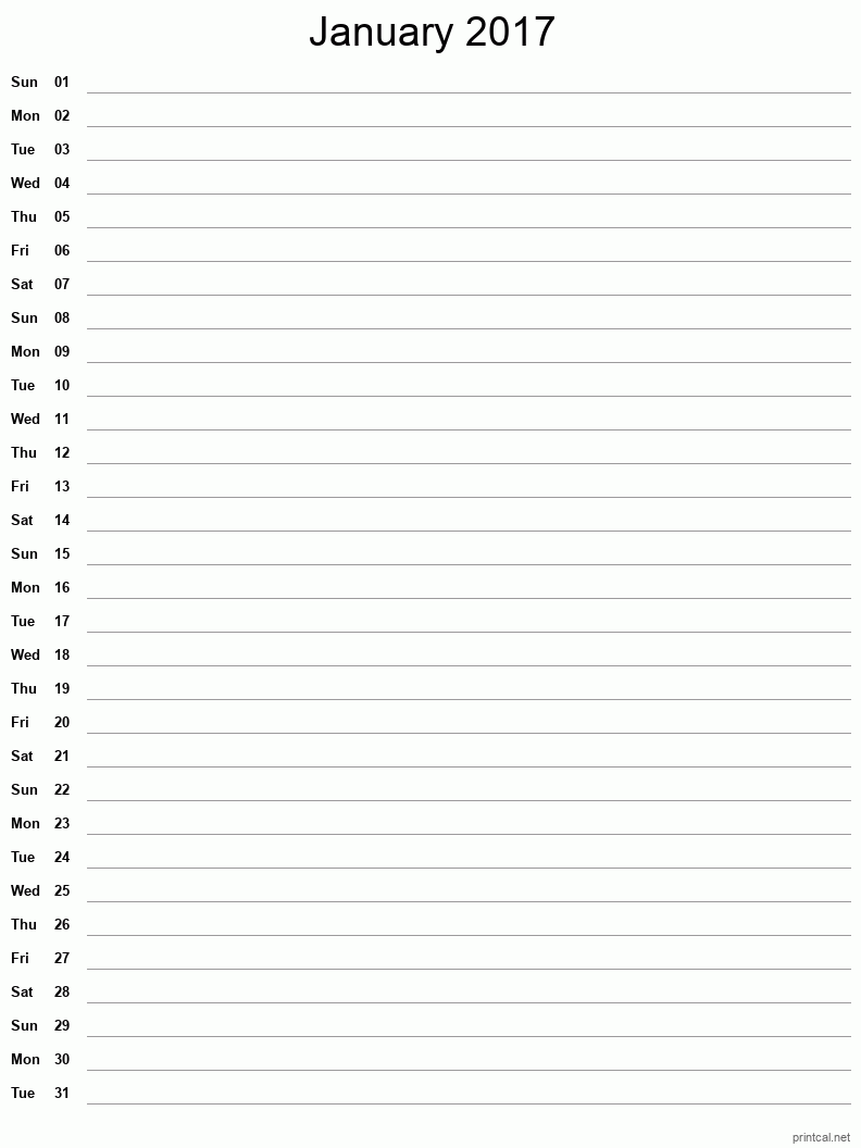 Printable January 2017 Blank Calendar - full-page notes