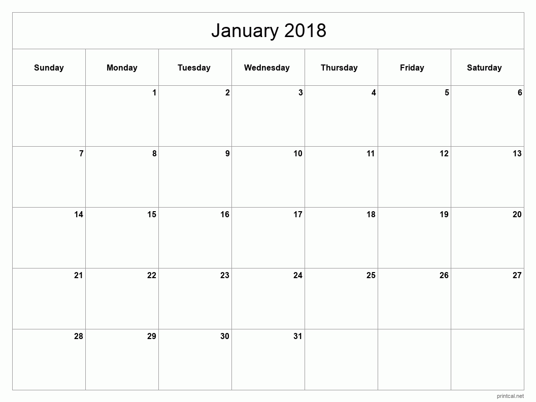 Printable January 2018 Blank Calendar - full-page, blank grid