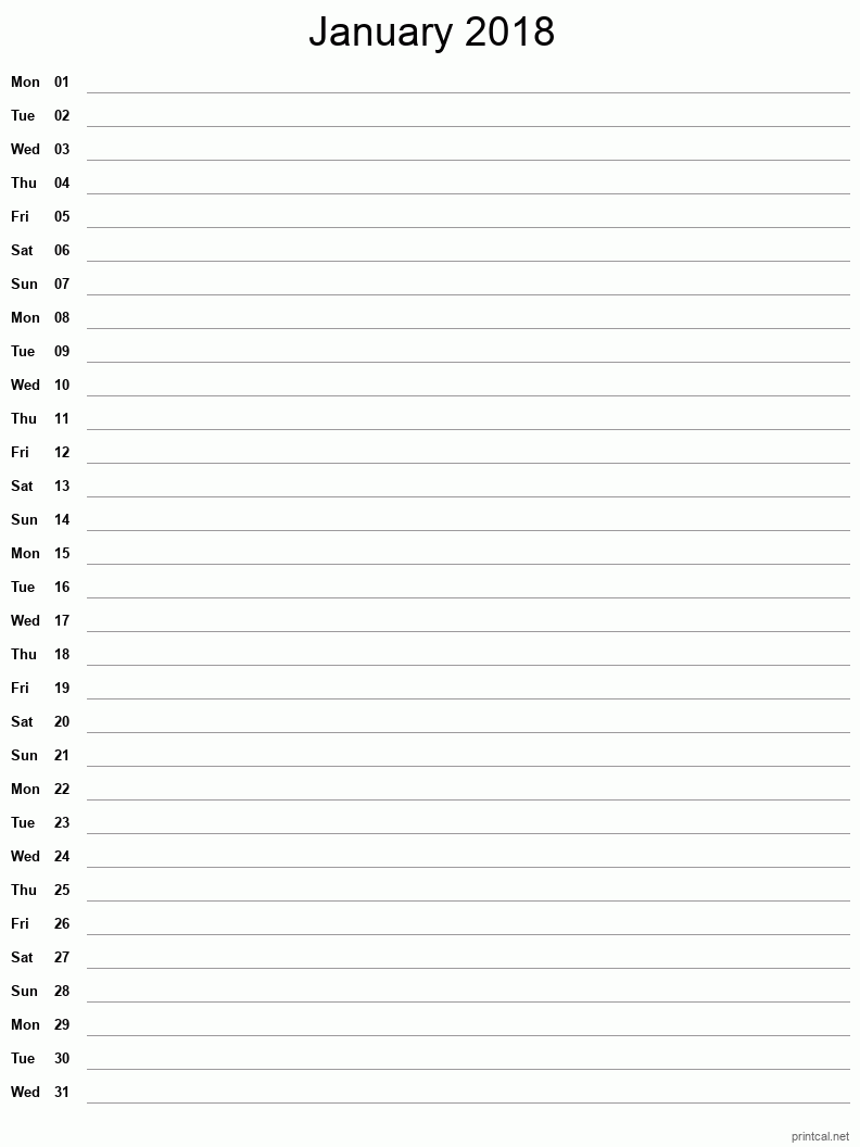 Printable January 2018 Blank Calendar - full-page notes