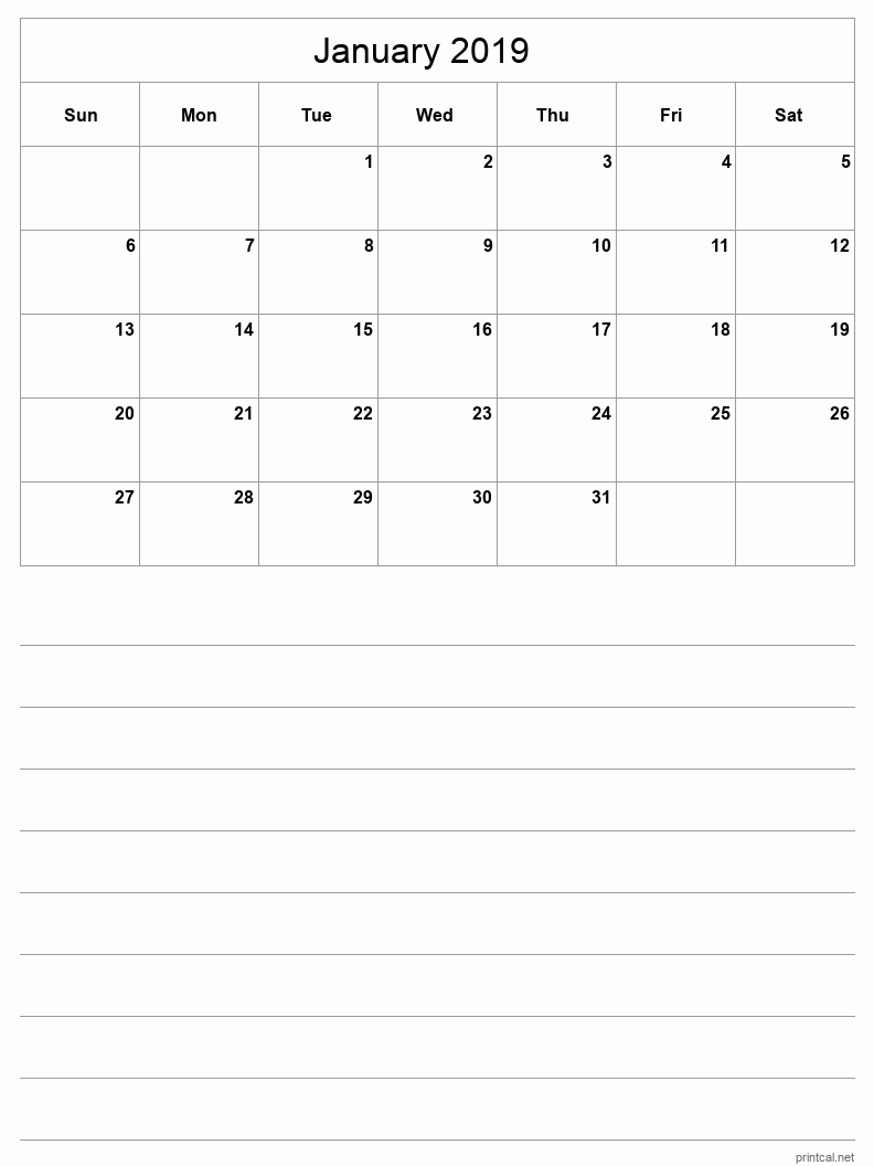 Printable January 2019 Blank Calendar - half-page with notes