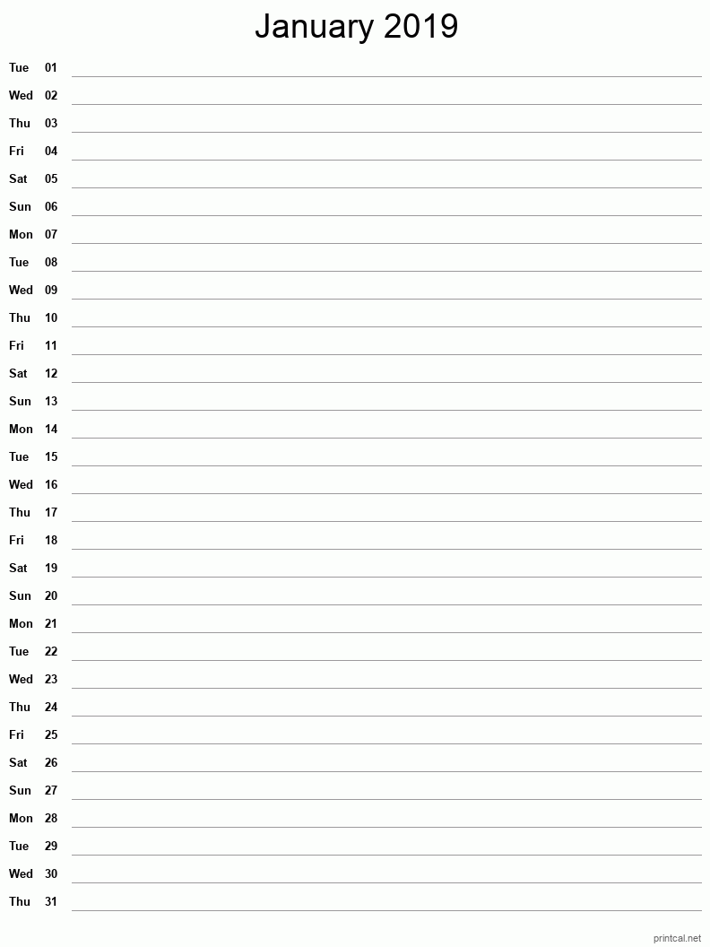 Printable January 2019 Blank Calendar - full-page notes