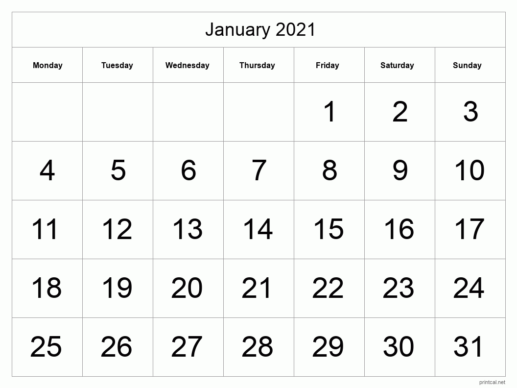 January 2021 Printable Calendar - Big Dates