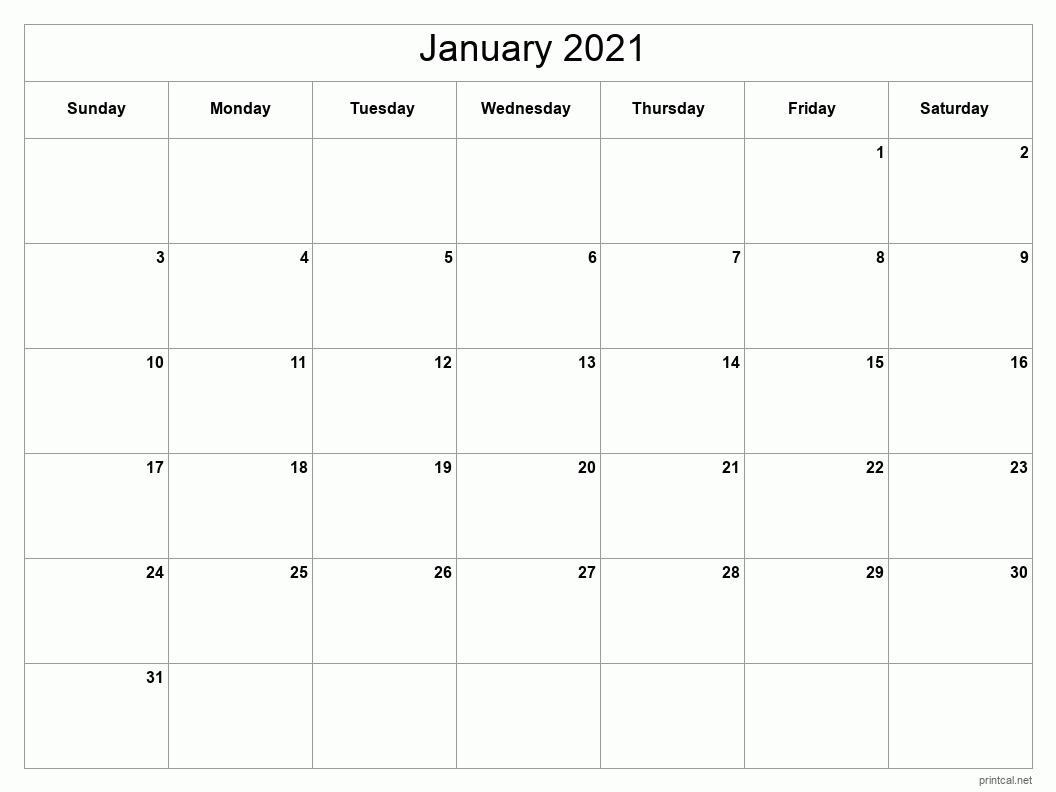 January 2021 Printable Calendar - Classic Blank Sheet