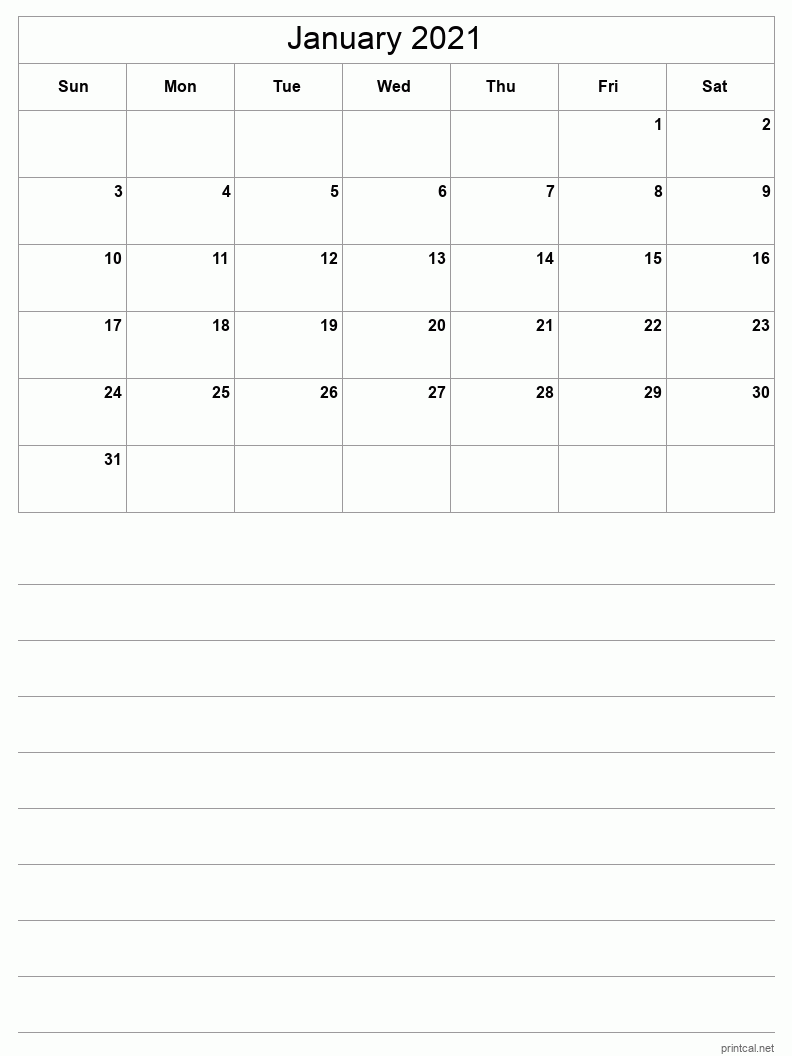 January 2021 Printable Calendar - Grid with notes