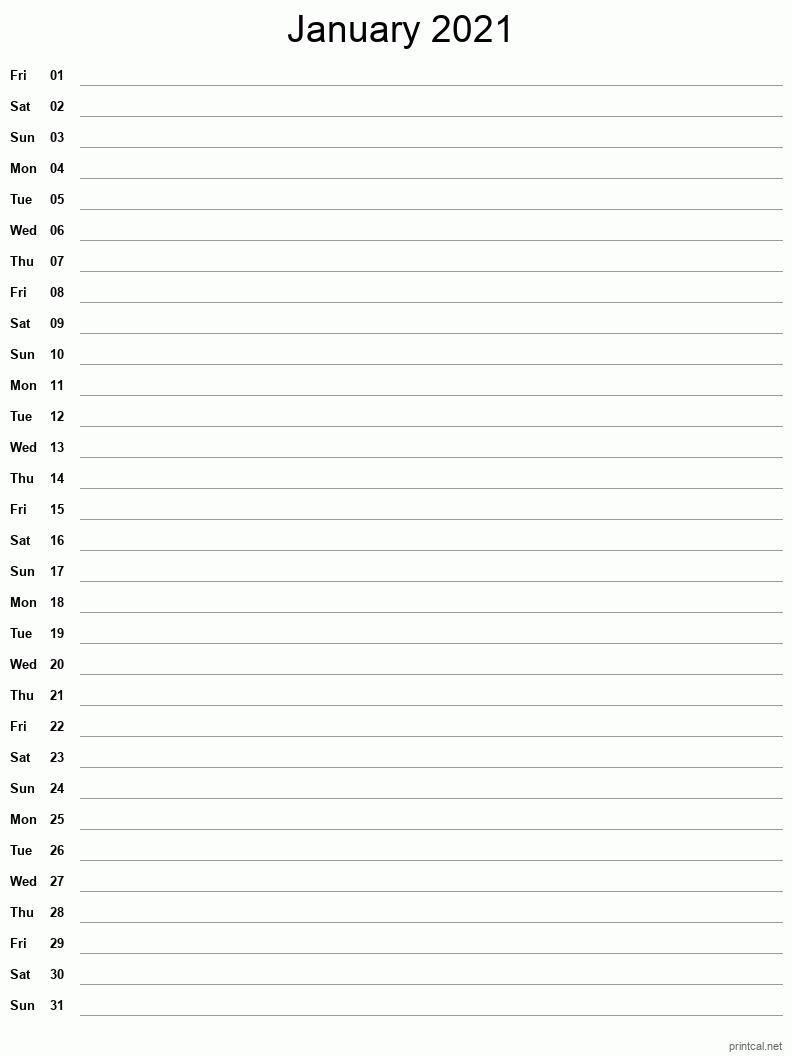 Printable January 2021 Calendar | Free Printable Calendars