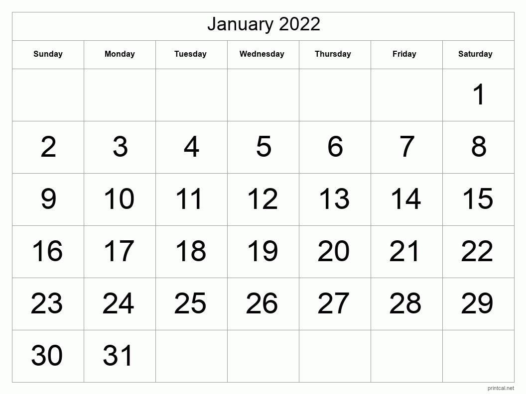 Printable January 2022 Calendar - Template #1 (full-page ...