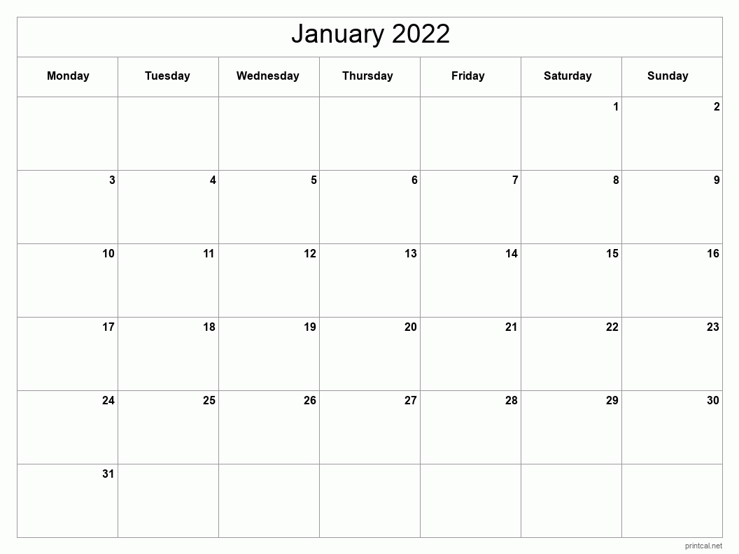 Printable January 2022 Calendar | Free Printable Calendars