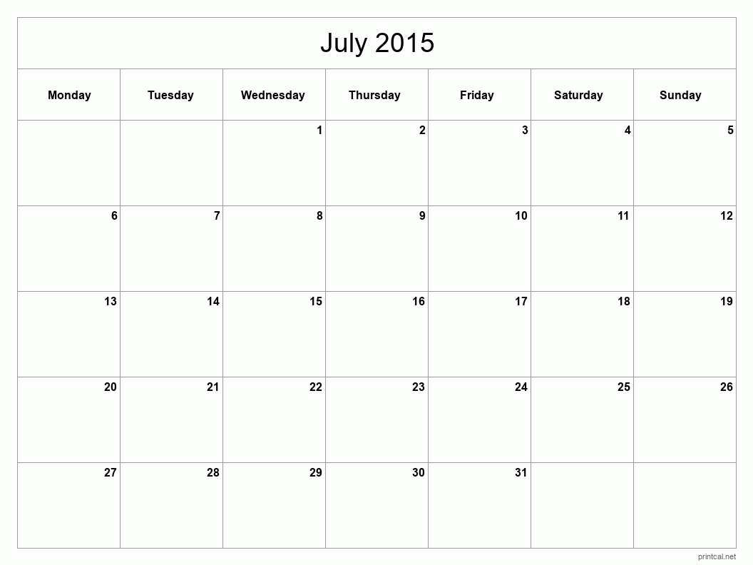 July Blank Calendar Template 2016