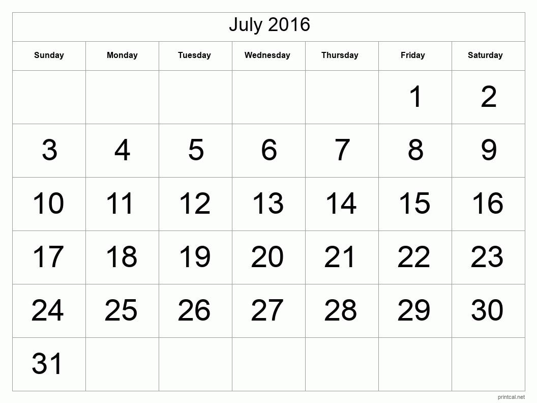 Printable July 2016 Calendar - Template #1 (full-page, tabular)