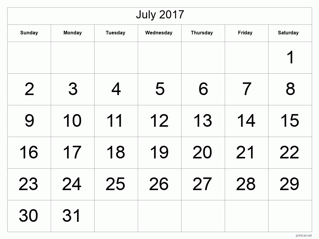 Printable July 2017 Blank Calendar - full-page, tabular