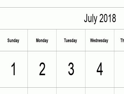 July 2018 calendar template - full-page, tabular