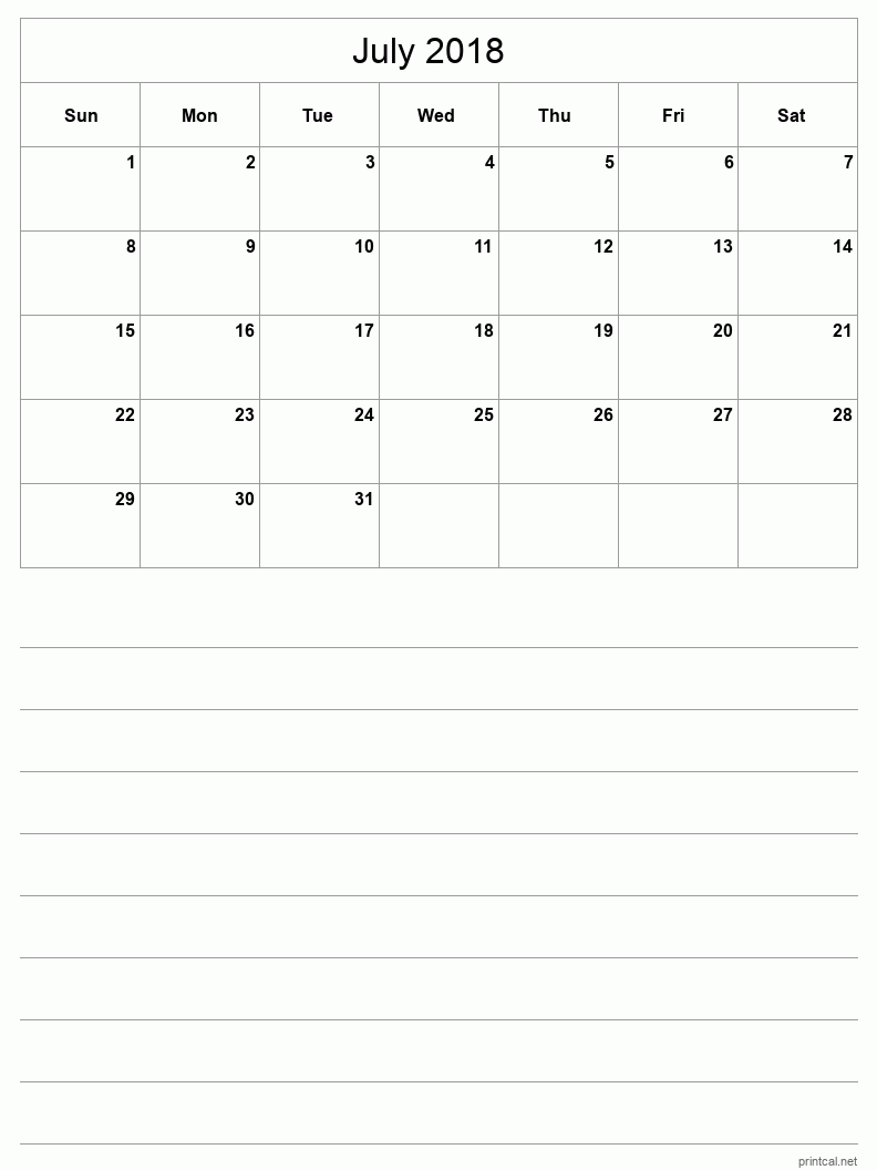 Printable July 2018 Blank Calendar - half-page with notes