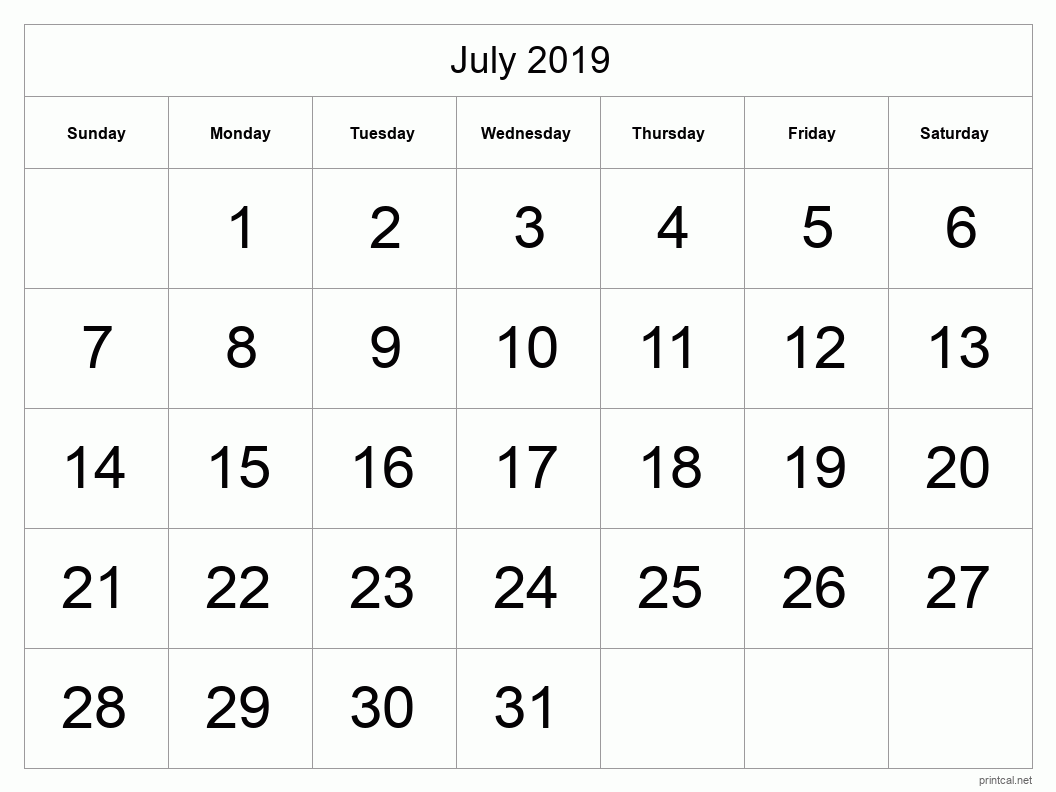 July 2019 Printable Calendar - Half Page (Big Dates)