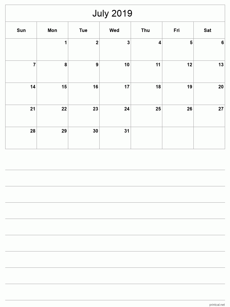 July 2019 Printable Calendar - Grid with notes