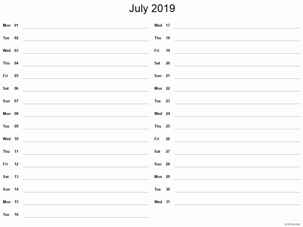 July 2019 Printable Calendar - Two Column Notesheet