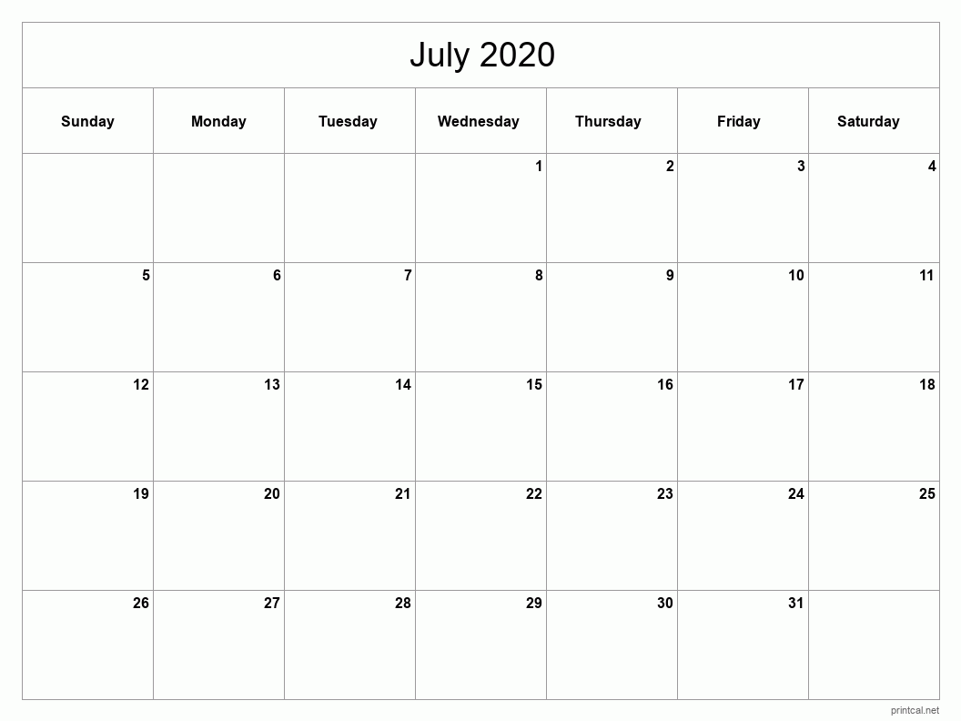 July 2020 Printable Calendar - Full Page (Classic Grid)
