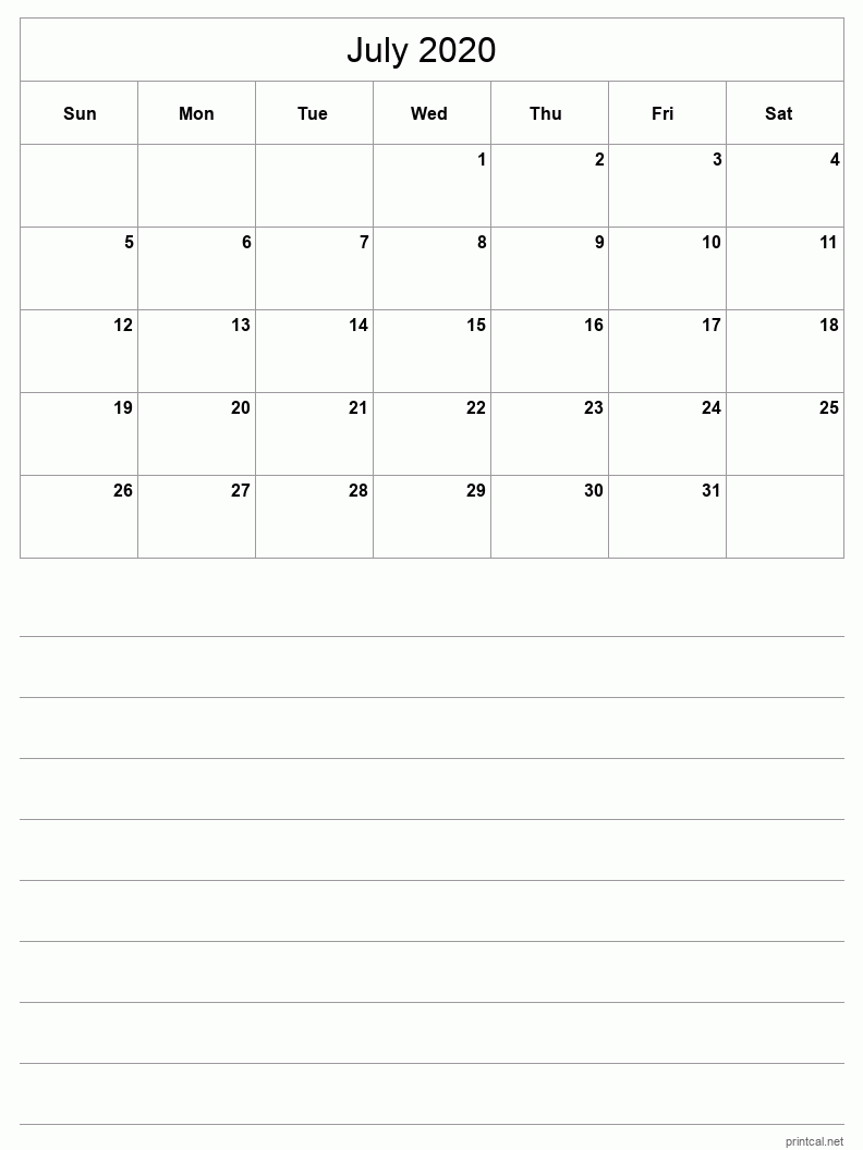 July 2020 Printable Calendar - Grid with notes