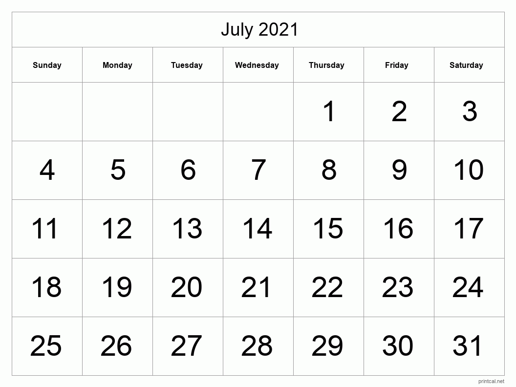 July 2021 Printable Calendar - Big Dates