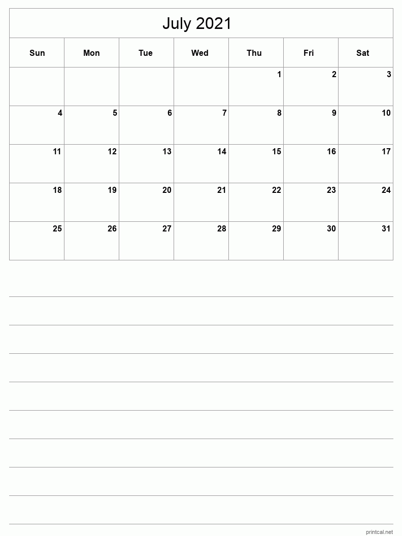 July 2021 Printable Calendar - Half-Page With Notesheet