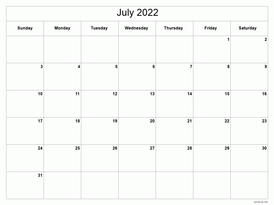 Printable July 2022 Calendar - Template #2 (full-page ...