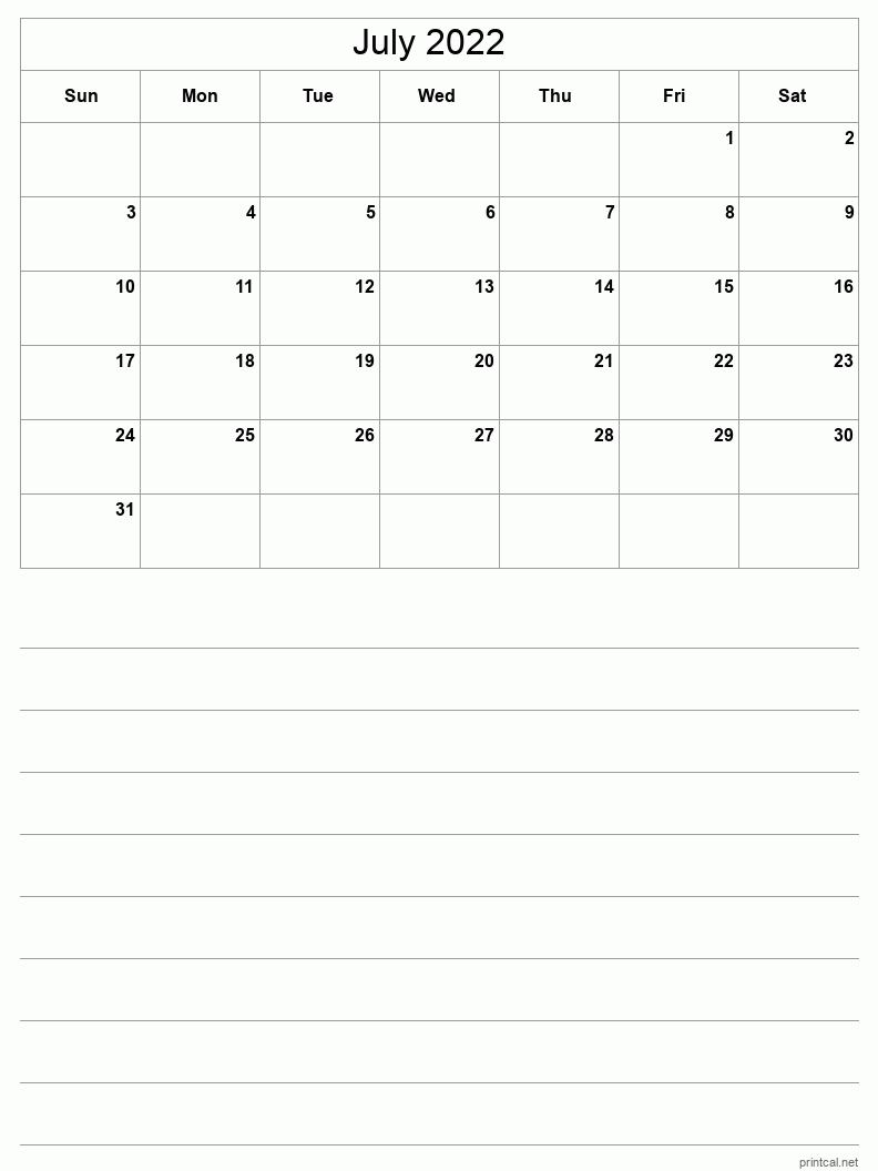July 2022 Printable Calendar - Half-Page With Notesheet