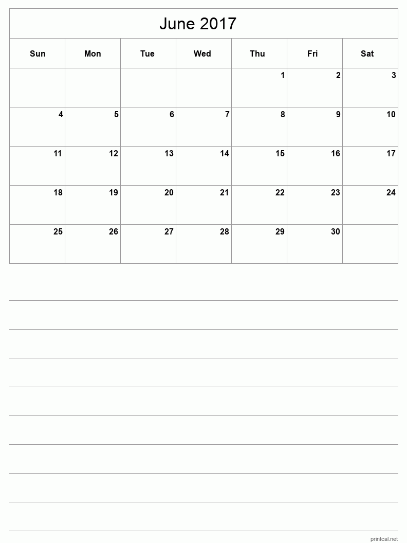 Printable June 2017 Blank Calendar - half-page with notes