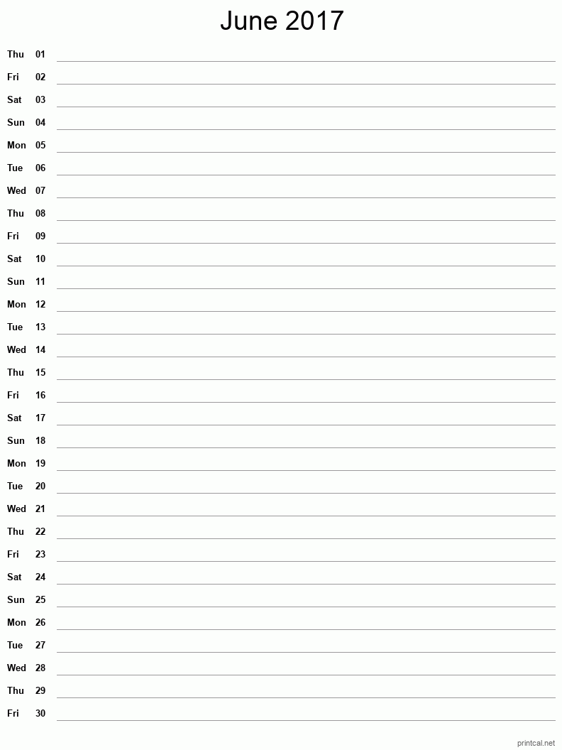 Printable June 2017 Blank Calendar - full-page notes