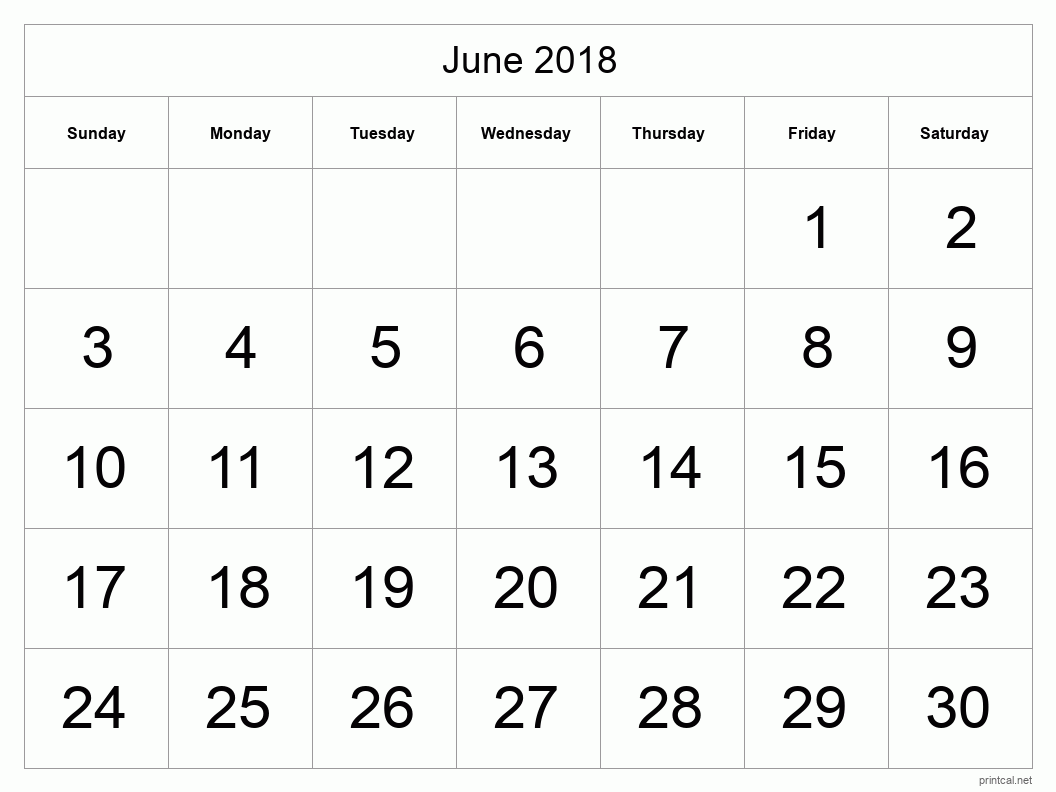 Printable June 2018 Blank Calendar - full-page, tabular
