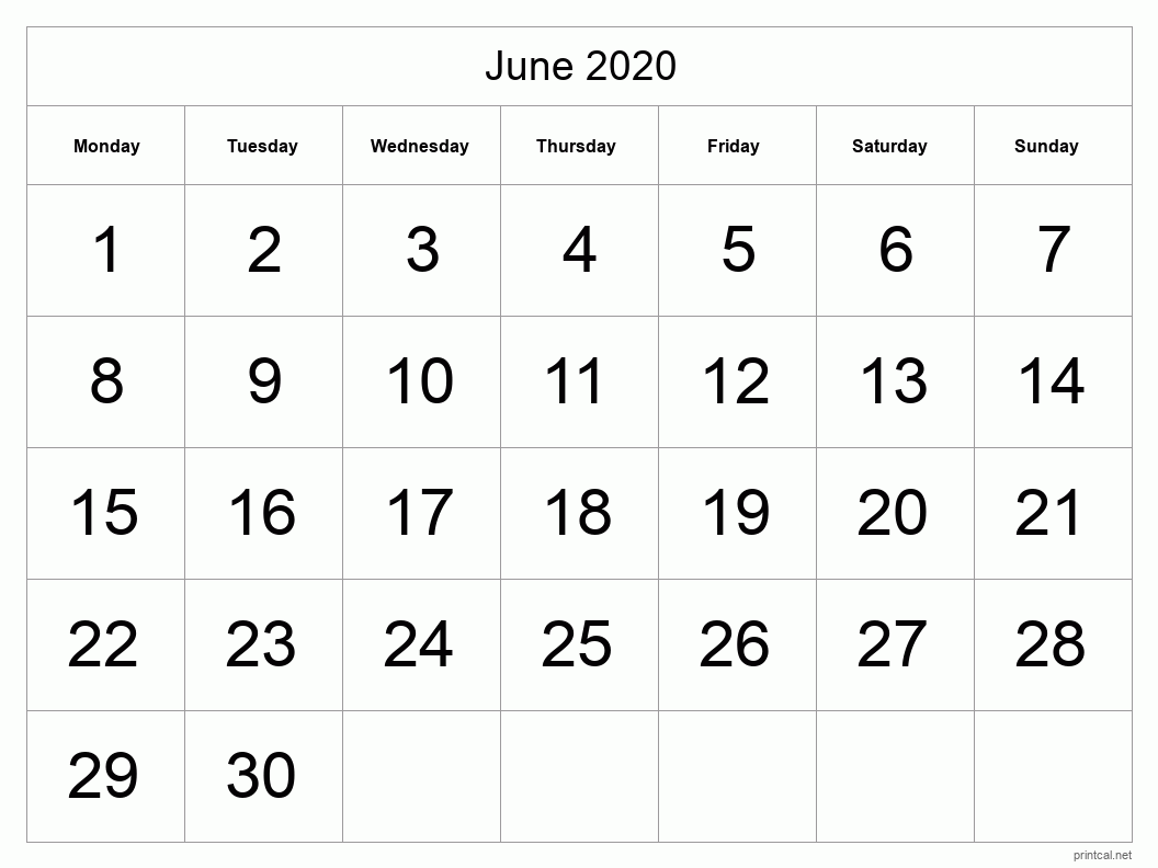 June 2020 Printable Calendar - Half Page (Big Dates)