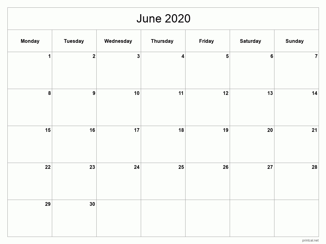 June 2020 Printable Calendar - Full Page (Classic Grid)