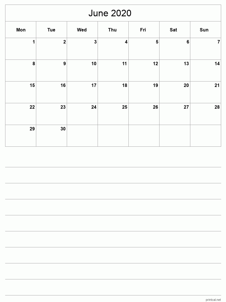 June 2020 Printable Calendar - Grid with notes