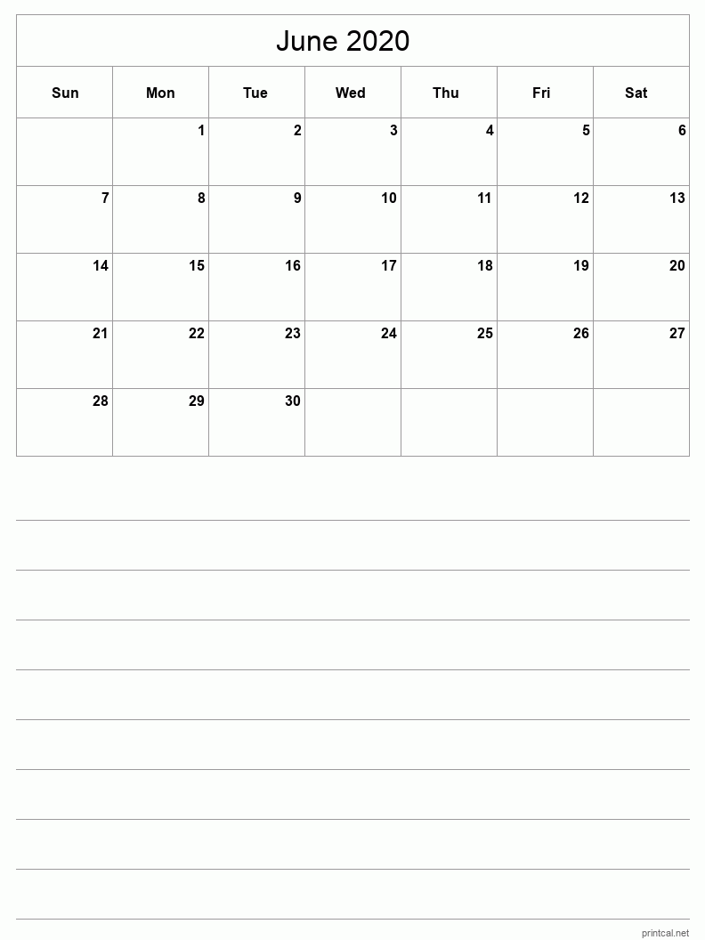 Printable June 2020 Calendar Template 3 Half Page With Notes