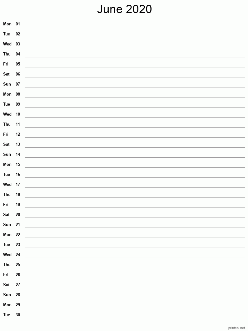 June 2020 Printable Calendar - Notes (Single Column)
