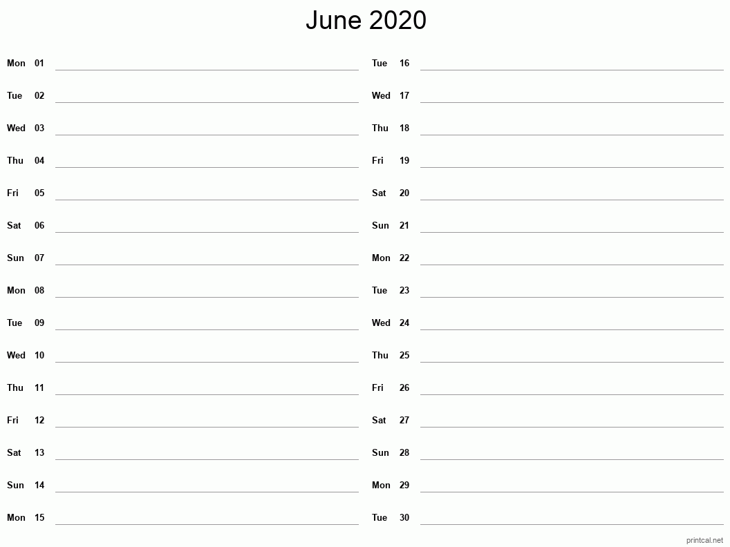 June 2020 Printable Calendar - Two Column Notesheet