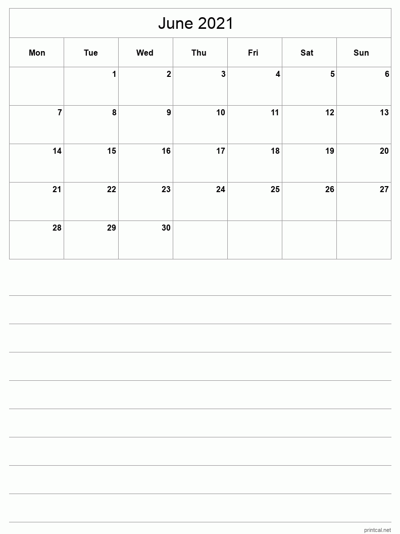 June 2021 Printable Calendar - Half-Page With Notesheet