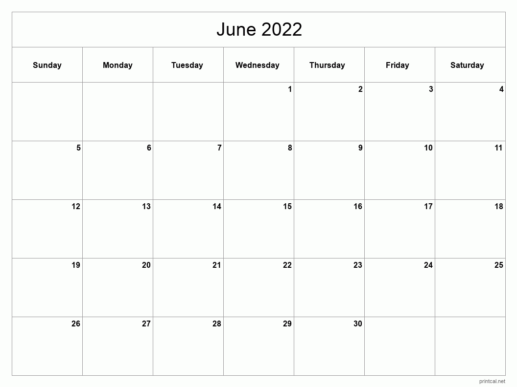 Blank Calendar For June 2022.Printable June 2022 Calendar Free Printable Calendars