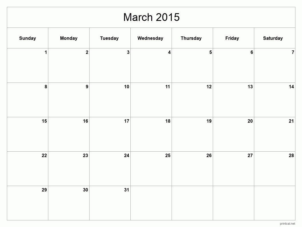 Printable March 2015 Calendar - Template #2 (full-page, blank grid)