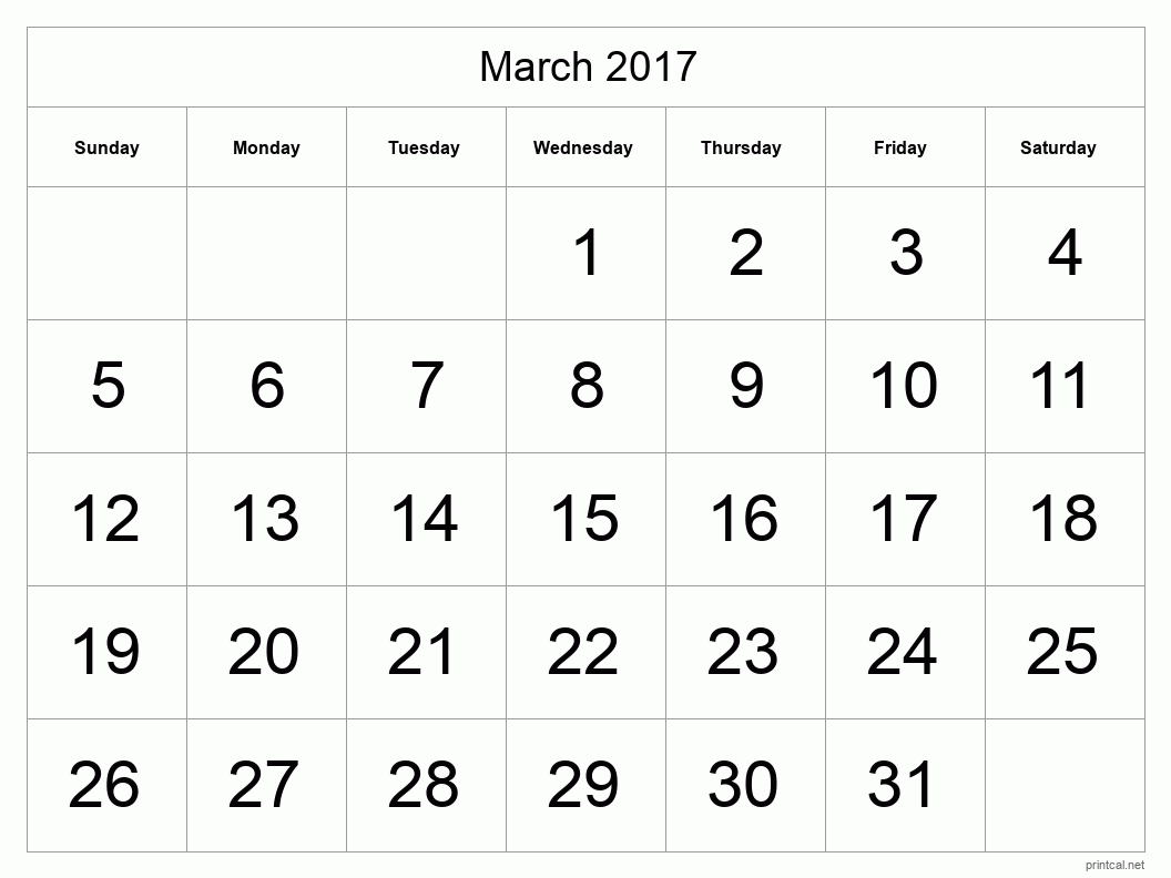 Printable March 2017 Calendar - Template #1 (full-page, tabular)
