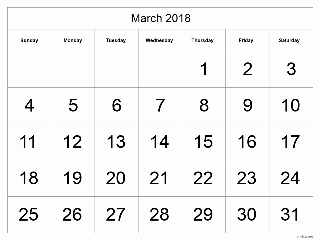 Printable March 2018 Blank Calendar - full-page, tabular