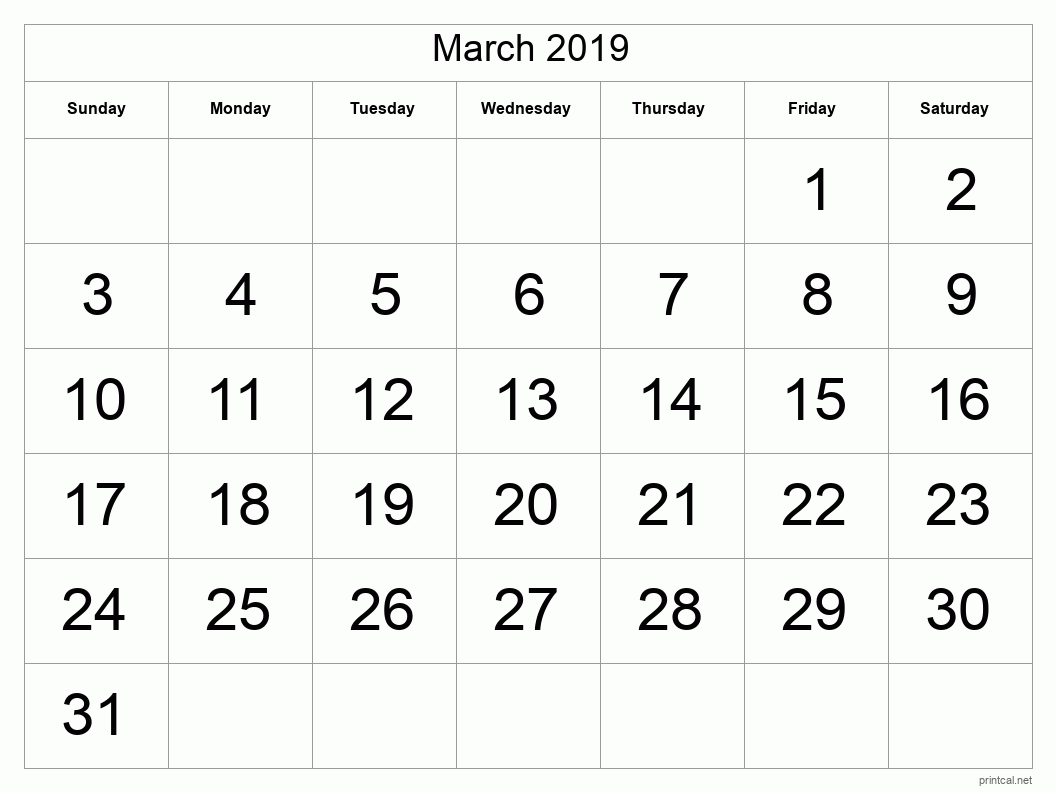 Printable March 2019 Blank Calendar - full-page, tabular