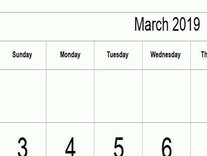 March 2019 calendar template - full-page, tabular