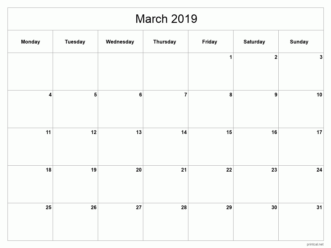 Printable March 2019 Blank Calendar - full-page, blank grid