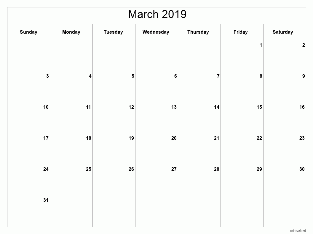 March 2019 Printable Calendar - Full Page (Classic Grid)