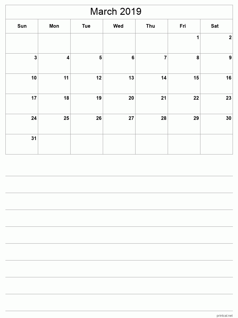 March 2019 Printable Calendar - Grid with notes